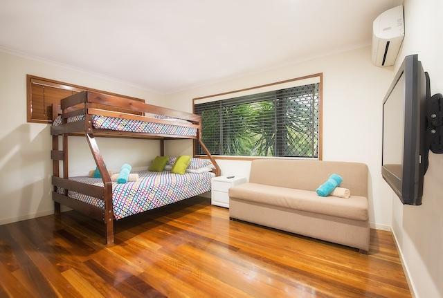 Bedroom 2, Queen bunk bed (sleeps 2) & 2 singles LCD TV with cable, air cond and heating standard