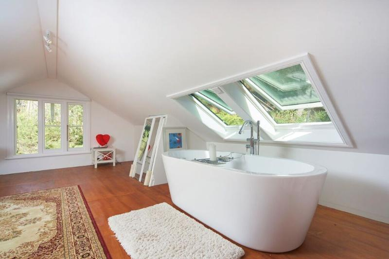 JILLS LOFT boast a luxurious french tub with sky windows looking to the tree tops and stars at night