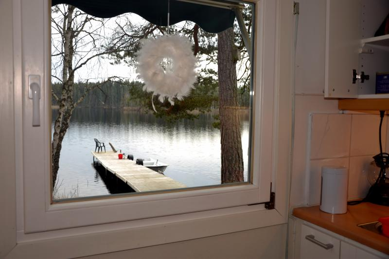 Kitchen view, facing lake and our boat and Kayac (included)