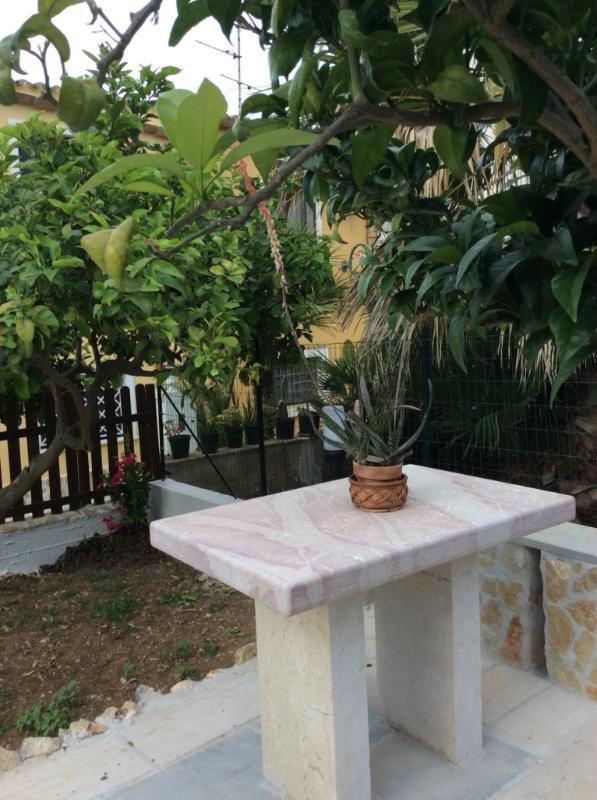 Particolare del tavolo in marmo e vista del giardino