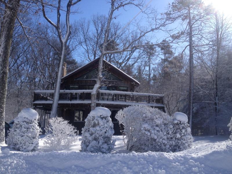Invierno en la casa! Disfrutar de la nieve nevada lago raquetas tobaggan esquí de fondo