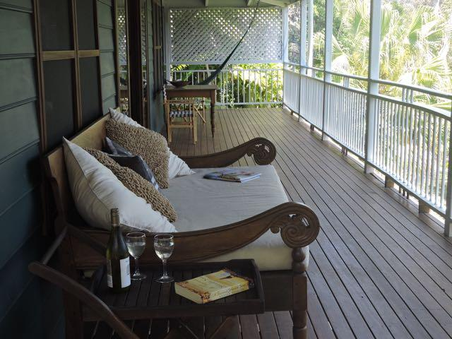 Back deck with Balinese day bed and hammock