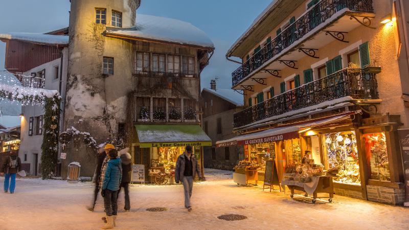 The stunning, unspoilt village centre of Samoens under fresh snow.