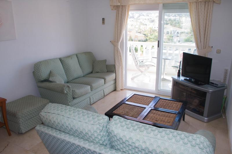 Living room with English TV channels and air conditioning