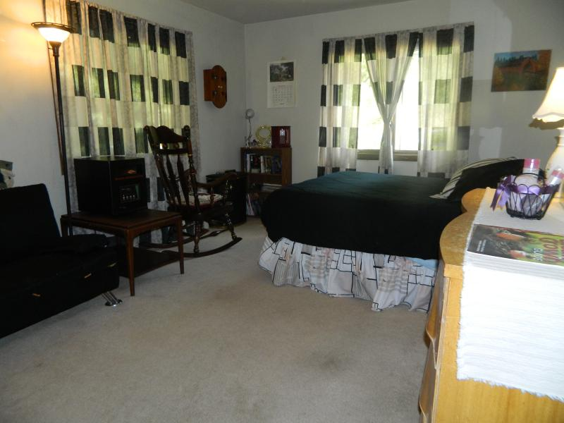 Guest bedroom with Queen size bed and futon. Mountainview outside window!