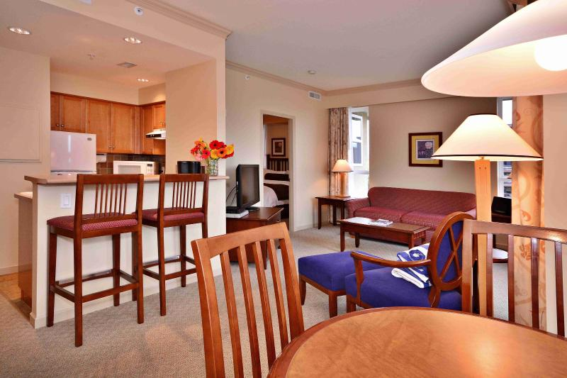 This beautiful high end condo has an incredibly spacious living area
