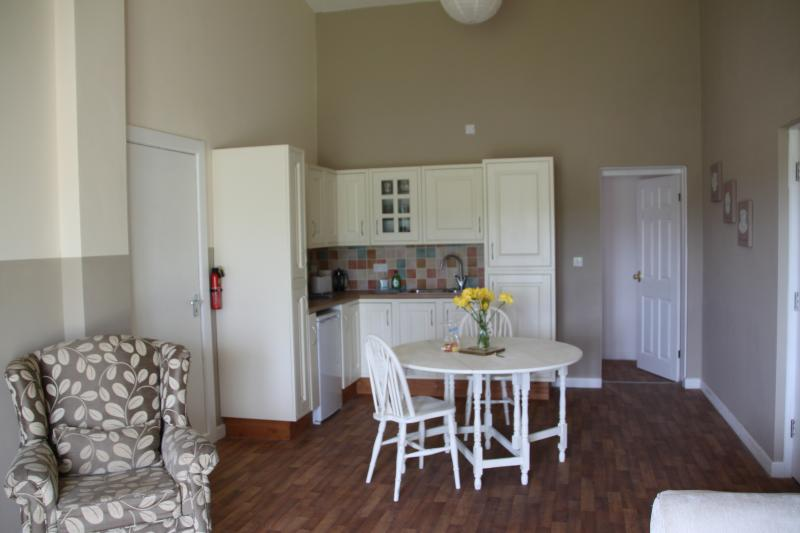 kitchenette with toaster, kettle, hob, microwave and larder fridge.