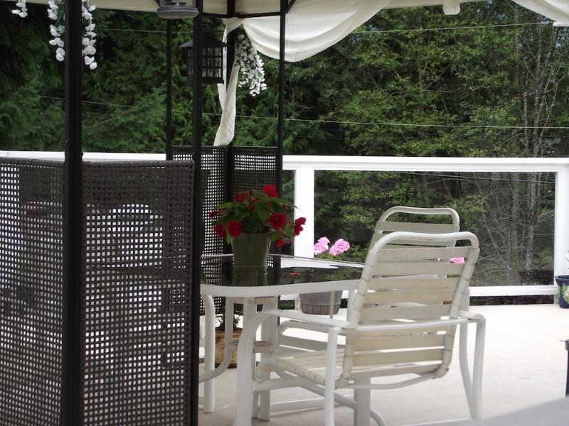Outside deck area open year round with covered canopy or in the open to star gaze on a clear night.