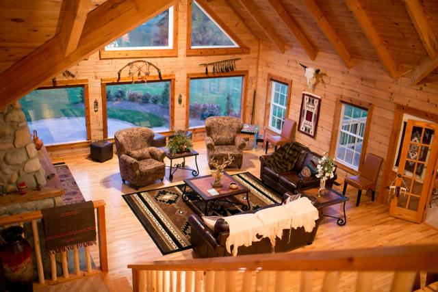 Family room featuring designer furniture and authentic Native American art