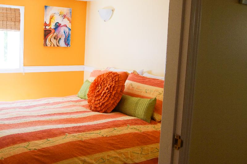 Art featured in the bedroom by local artist Cathy Key