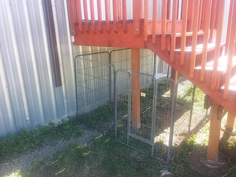We now have a dog kennel. Your pet can be safe and comfortable just outside your door.