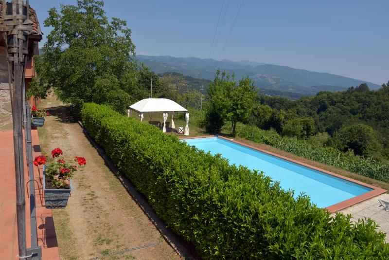 View from terrace of your private pool, with mountain backdrop- just relax!