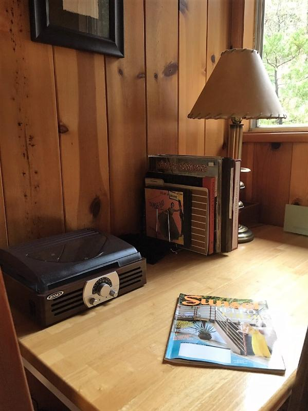 Record player with a selection of classic records