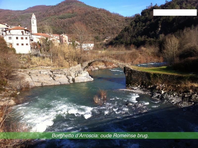 Old Roman bridge in the village of Borghetta d'Arroscia.
