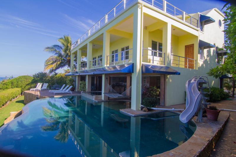 Large infinity edge pool, slide, water feature, beach entry, whirlpool.