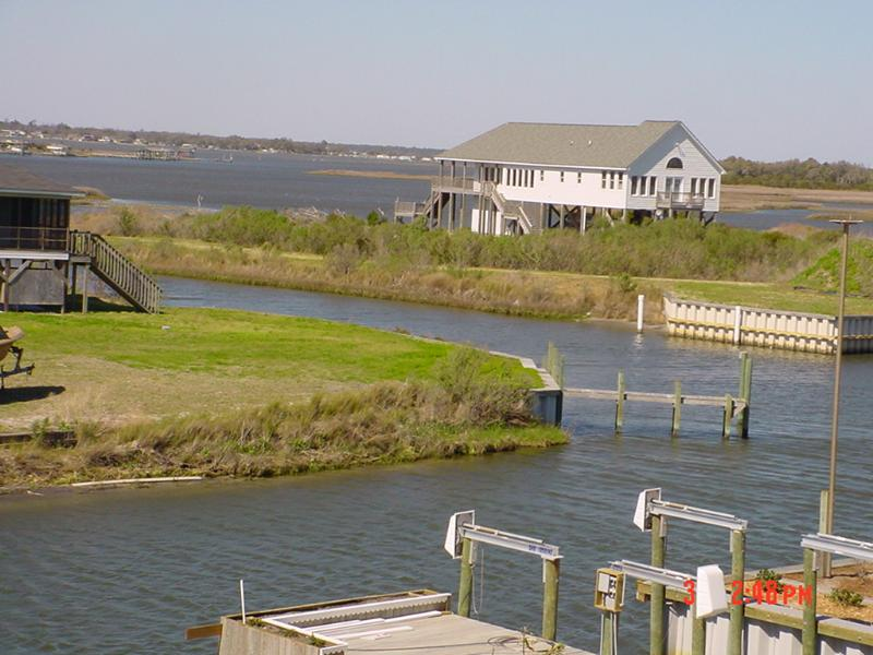Canal at rear and entrance to intercoastal waterway