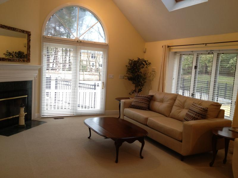 LOts of comfortable seating and large windows