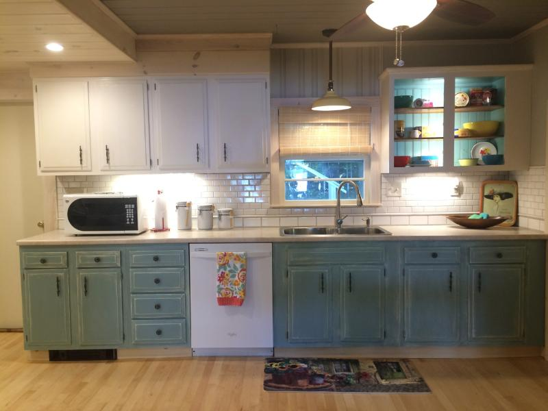 Large kitchen open to dining room...all with a beautiful view of the lake