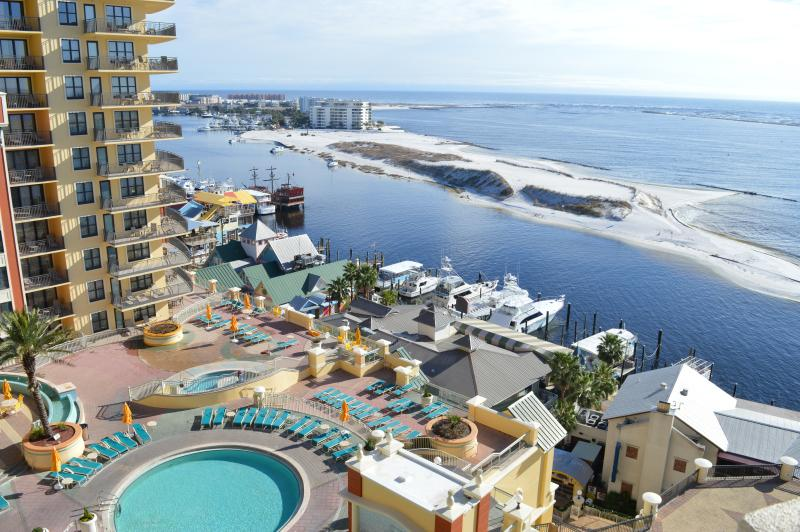Balcony view of the Pool Deck, Destin Harbor, & the Gulf!