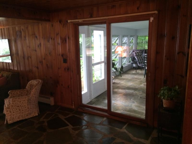 sliding door to front porch from living room