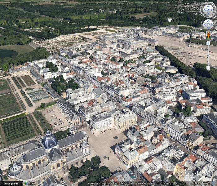 A bird's eye view of Versailles (see St Louis Cathedral bottom left, next to the Potager du Roi)