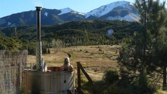 Private woodfired hot tub