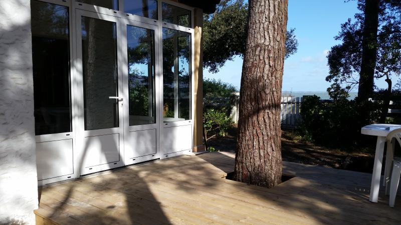 Blick vom Wohnzimmer, Veranda und Terrasse