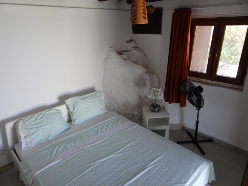 the bedroom downstairs with its private bathroom attached