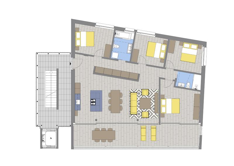 130 m2 of living space which opens out onto a 33m2 terrace. Great views of the Jungfrau.