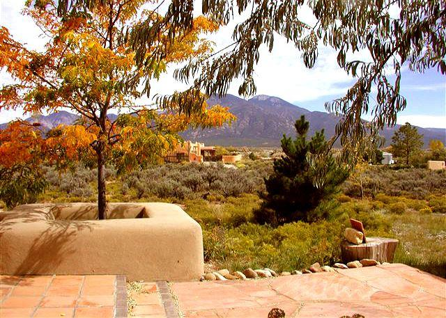 Front open patio view of Taos Mountain