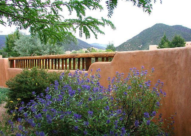 View to Taos Mountain from adobe privacy wall wall front patio