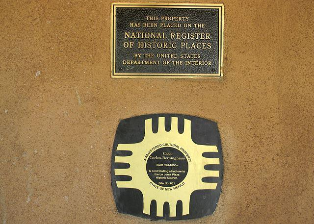 The official National Historic Registry Plaque at front entry.