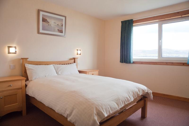 There are two double bedrooms. The beds are new and very comfortable. Views look across the water.