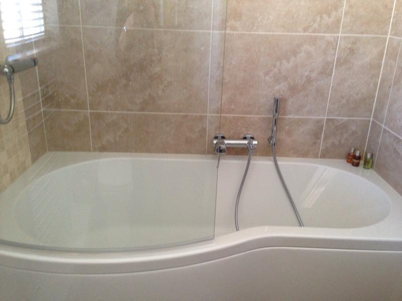 P bath with shower and separate hand shower and bath filler.