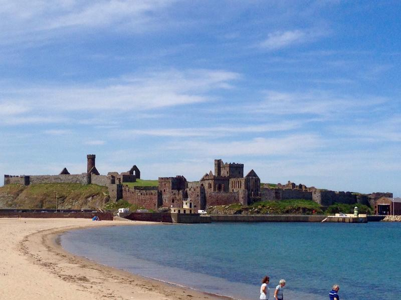 Peel castle and beach - 5 mins walk from our apartment.