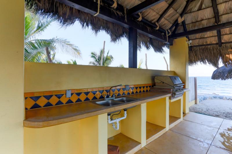 40' Palapa with gas grill sink, and serving area. Outdoor table with chairs as well.