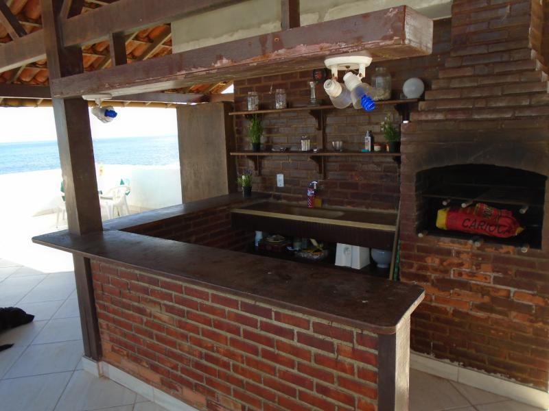 The kitchen on the top terrace has a barbecue oven, fridge, sink and all utensils.