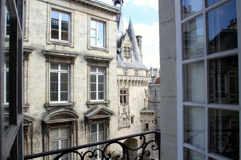"""View of the """"fairytale"""" gate, Porte Cailhau, from living room"""