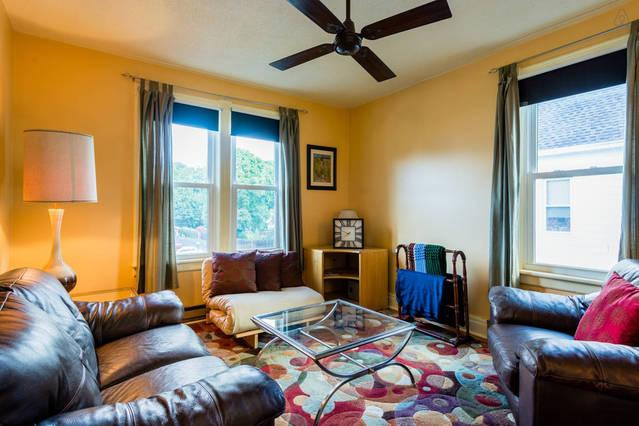 2nd floor living room -  with a ceiling fan to keep the air moving