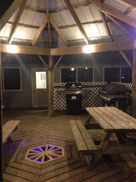 the BBQ cabana at night