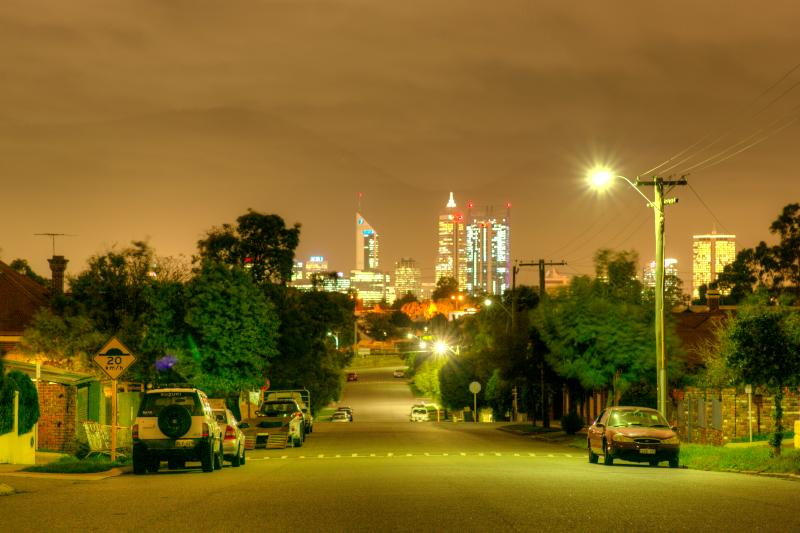 Perth City seen from the rear aspect of the house