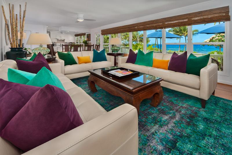 Wailea Sunset Bungalow - Ocean View Great Room with Dining for Six, Leather Sofas, Velvet Down Pillows, Vintage Imported One-Of-A-Kind Wool Overdyed Rug, Games & Books in Cabinet, and Large Screen HDTV