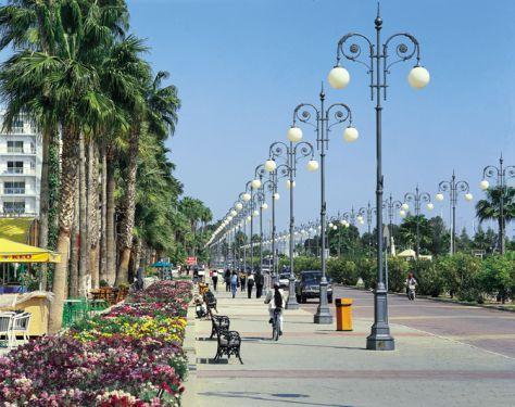 Larnaca promenade which has lots of restaurants, bars and children arcade, shops and beach