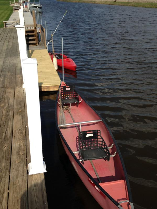 Canoe and Kayak for the use of our guests.  life jackets and fishing pole located in back entryway .