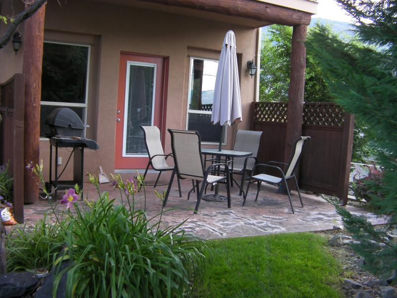Private patio with natural gas barbecue