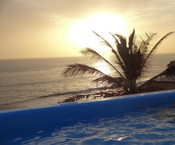 Terrasse avec la piscine sur le toit de la maison