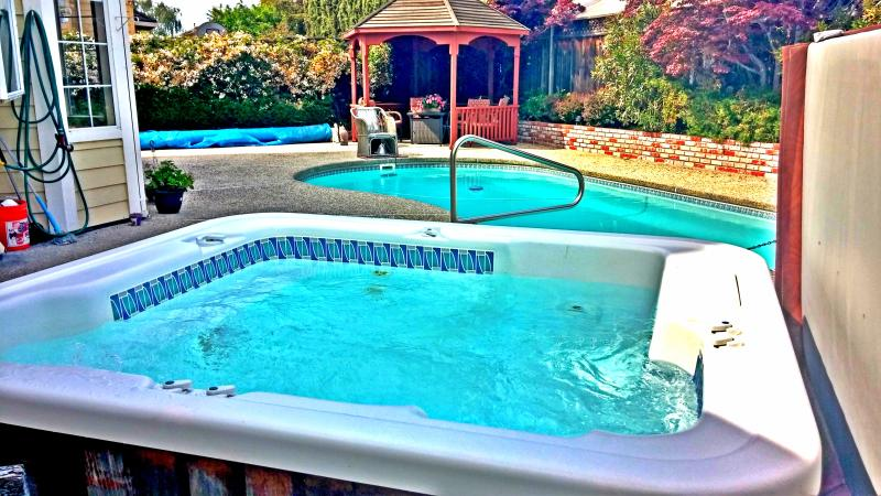 Swimming Pool, Spa, Gazebo in Backyard