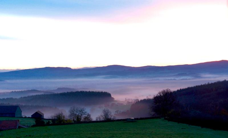 A view to the hills at dawn