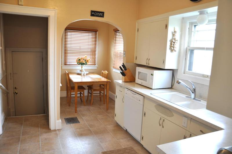 The kids can dine in the breakfast nook with the extra folding table.