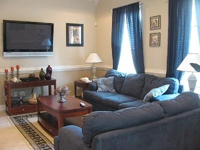 Relax in the living room with big screen TV and DVD. Fold out sofa bed.